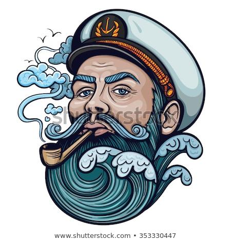 Sea captain with smoking pipe Stock photo © colematt