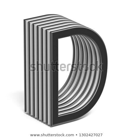 Feketefehér réteges betűtípus d betű 3D 3d render Stock fotó © djmilic