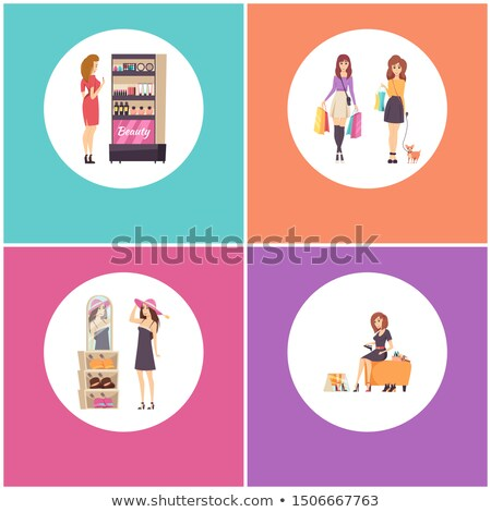 Beauty Cosmetics Stand, Female Choosing Headwear Stock photo © robuart