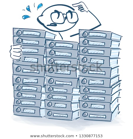 Stick figures with an oversized file mountain and workload Stock photo © Ustofre9