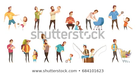 Pram with Newborn Child and Father Isolated Vector Stock photo © robuart