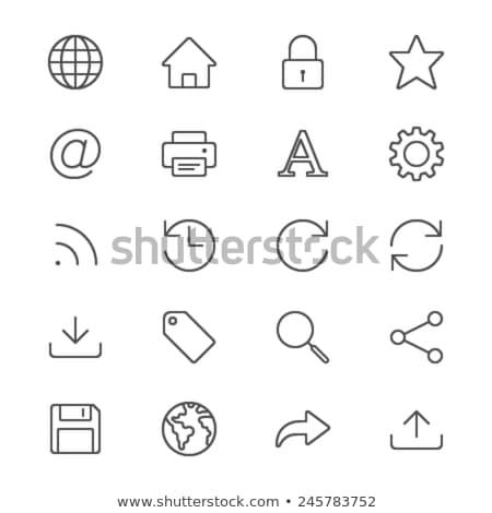 世界中 アップロード シンボル アイコン 薄い 行 ストックフォト © angelp