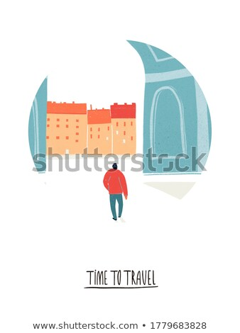 Stock photo: Time to travel - modern colorful isometric illustration