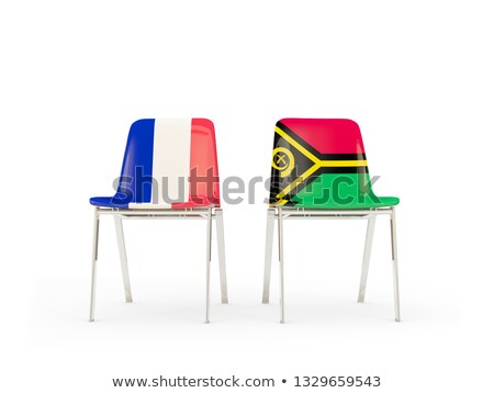 Two chairs with flags of France and vanuatu Stock photo © MikhailMishchenko