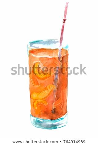 Abricot blanche couleur pour aquarelle illustration isolé peinture Photo stock © ConceptCafe
