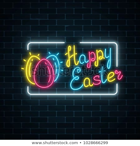 Happy Easter Neon Label Stock photo © Anna_leni