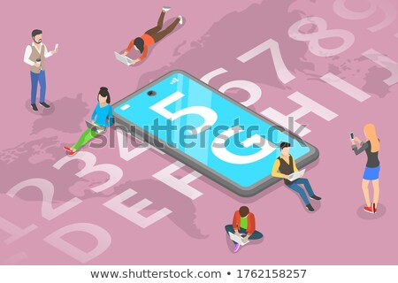 Isometric flat vector concept of 5G , global wireless network. Stock photo © TarikVision