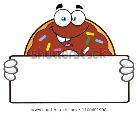 Donut Cartoon Character With Sprinkles Holding a Blank Sign. Stock photo © hittoon