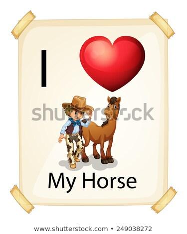 Anunciante amor caballo blanco papel Foto stock © colematt
