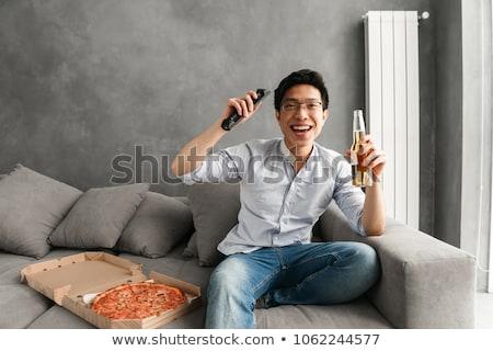 Portret opgewonden jonge asian man Stockfoto © deandrobot