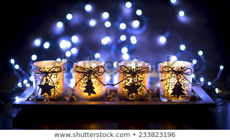 Dekoriert Aufkommen Kerzen traditionellen Weihnachten Markt Stock foto © neirfy