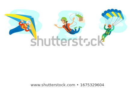 Hang Gliding and Skydiving People in Air Poster Stock photo © robuart