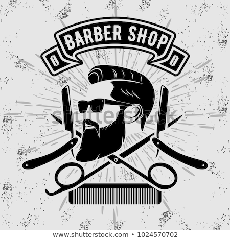 Grey emblem for barber shop, vector illustration. stock photo © kup1984