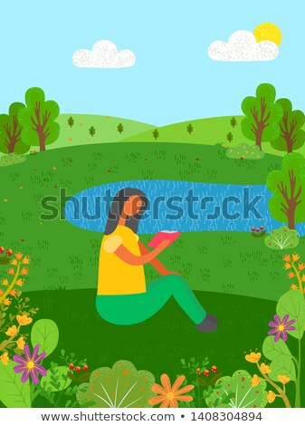 Summer Vacation Woman Reading Book by Lake Pond Stock photo © robuart