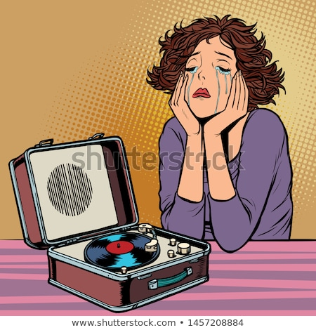女性 リスニング 悲しい 音楽 レトロな ビニール ストックフォト © rogistok