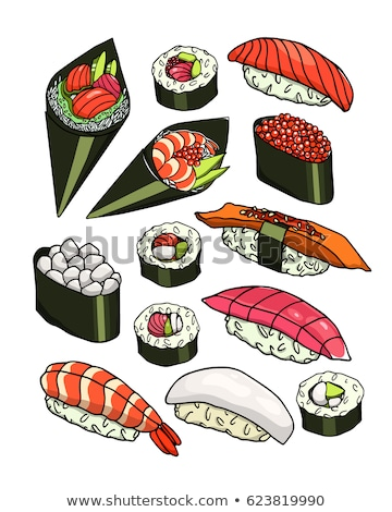 Scallop and Eel Hand Drawn Vector Illustrations Stock photo © robuart