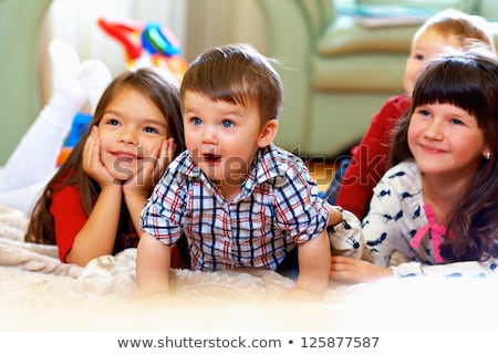 happy little child laughing cute toddler girl in casual outfit stock photo © lopolo