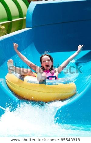 若い女の子 ウォータースライド 頭 最初 ストックフォト © jsnover