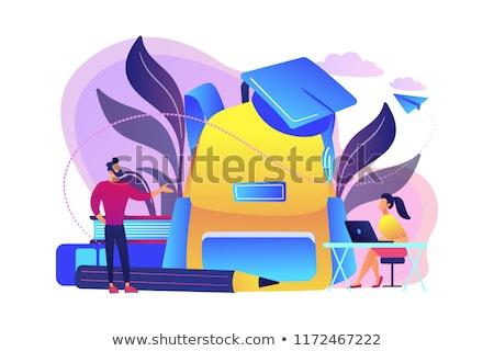 Terug naar school groot rugzak leraar student Stockfoto © RAStudio