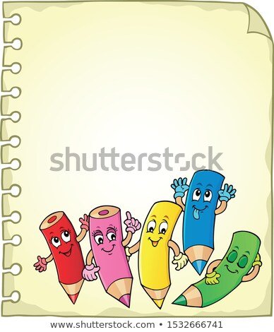 Notepad page with happy wooden crayons Stock photo © clairev