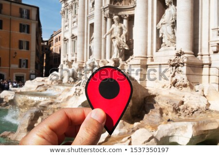 red marker at trevi fountain in rome italy stock photo © nito