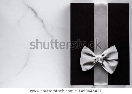Zwarte zijde lint boeg marmer vakantie Stockfoto © Anneleven