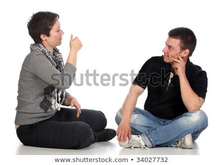 耳が聞こえない 手 男 にログイン ヘルプ ストックフォト © vladacanon