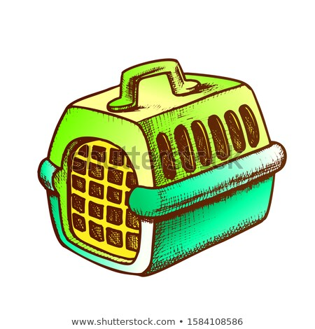 Stockfoto: Plastic Carrier For Domestic Animal Ink Vector