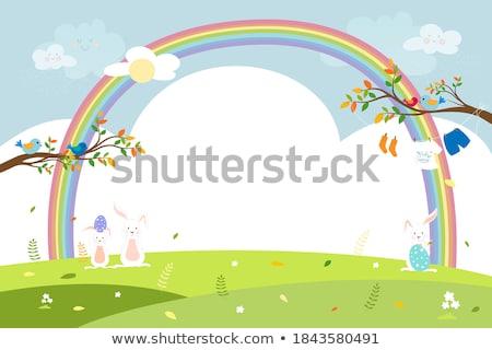 Oeufs marguerites herbe Rainbow couleur ciel Photo stock © Sandralise