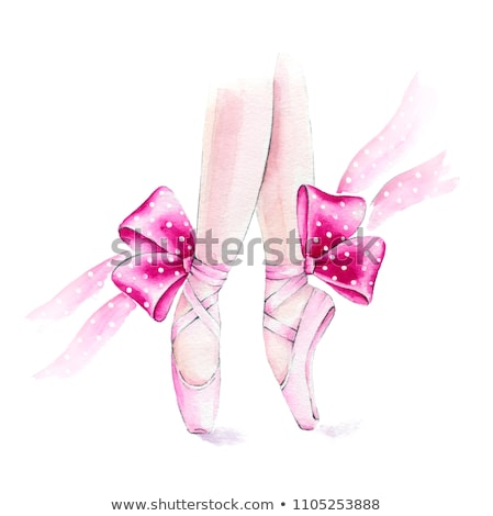 Ballet shoes with ribbons on a white tutu in a dance studio Stock photo © boggy