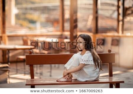 Gyermek mezítláb fából készült pad fa nyár Stock fotó © ElenaBatkova