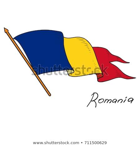 Romanya bayrak el beyaz kalp dünya Stok fotoğraf © butenkow