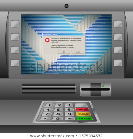 Realistic ATM machine with keypad and lots of critical error messages Stock photo © evgeny89