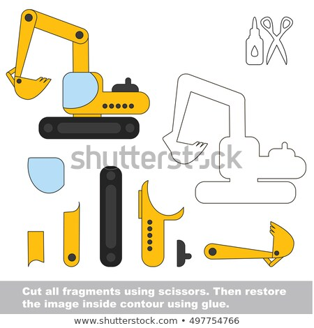 Use scissors and glue and restore the picture inside the contour with Excavator Stock photo © natali_brill