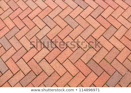 Rouge brique trottoir antique aménagement paysager jardin Photo stock © Pegasi8Imagery