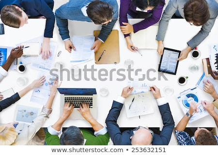 Business People Work in Team, Board with Statistic Stock photo © robuart