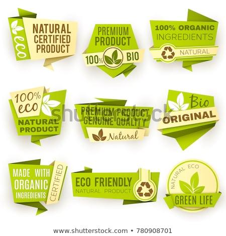 Onaylı organik gıda ürün yeşil etiket etiket Stok fotoğraf © SArts
