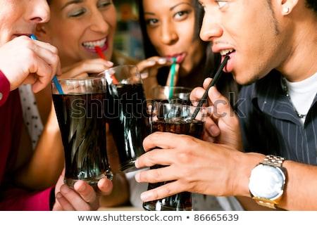 画像 楽しい アフリカ系アメリカ人 女性の笑顔 飲料 ソーダ ストックフォト © deandrobot