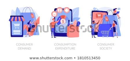 Fogyasztó társadalom absztrakt fogyasztás áru szolgáltatások Stock fotó © RAStudio