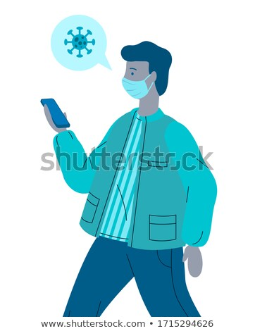 Vector flat illustration of infected guy in face medical mask spread virus through touching to phone Stock photo © robuart