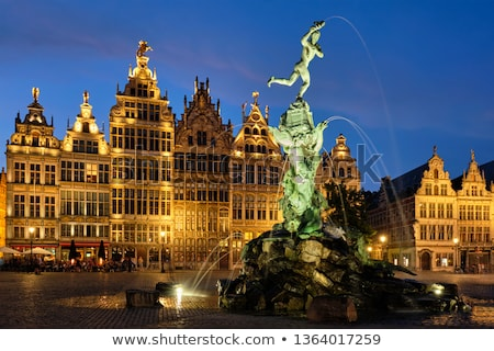 Stock photo: Antwerp Grote Markt With Famous Brabo Statue And Fountain At Night Belgium