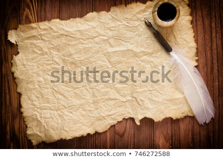 Oud papier veer illustratie boek muur abstract Stockfoto © Hermione