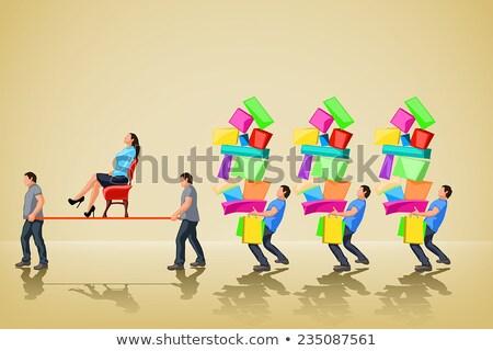 Glamour menina caminhada compras caixa Foto stock © experimental