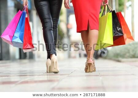belo · feminino · pernas · vermelho · moda · compras - foto stock © anna_om