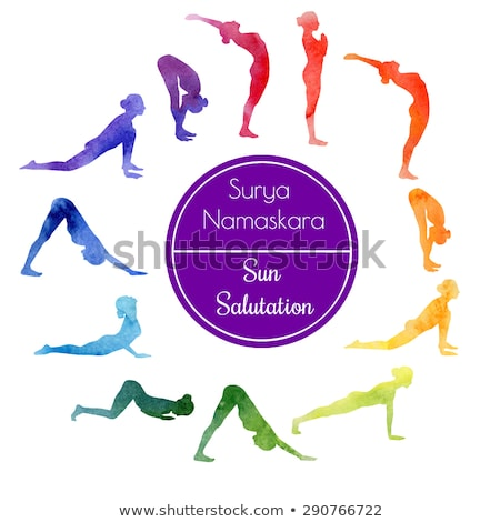yoga sun salutation set, vector Stock photo © beaubelle