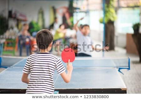 мальчика играет пинг-понг настольный теннис СССР штампа Сток-фото © Qingwa
