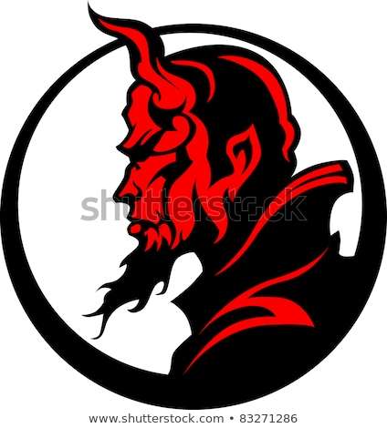 Stock photo: Devil Demon Mascot Head Vector Illustration