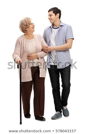 Fiatalember segít idős nő férfi idős Stock fotó © photography33