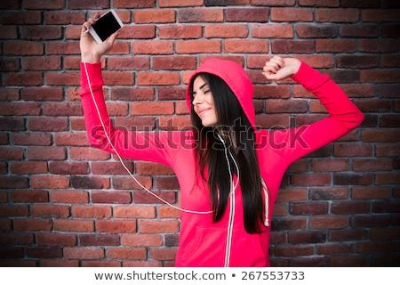 schoonheid · brunette · vrouw · zwarte · sluier · Rood - stockfoto © dashapetrenko