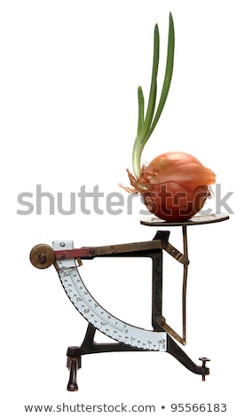 Growing Onion On Old Letter Scales Stock fotó © pterwort